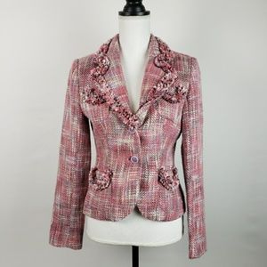 Lia Lee Pink Tweed Blazer Size Small